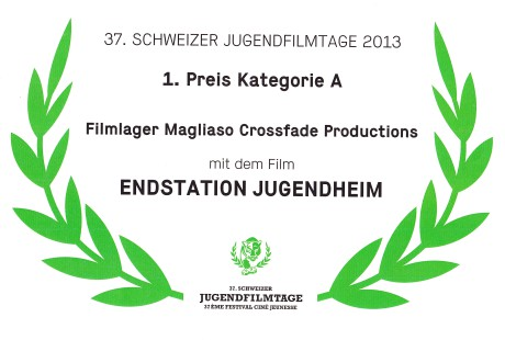 Zertifikat Schweizer Jugendfilmtage 2013 1. Preis Kategorie A