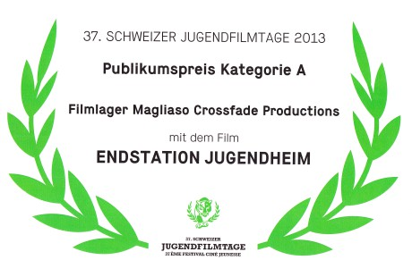 Zertifikat Schweizer Jugendfilmtage 2013 Publikumspreis Kategorie A