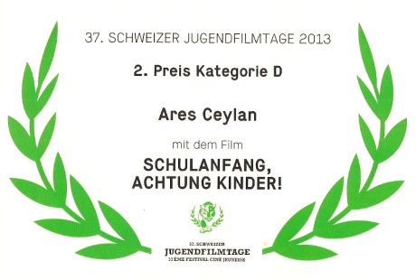 Zertifikat Schweizer Jugendfilmtage 2013. 2. Preis Kategorie D.