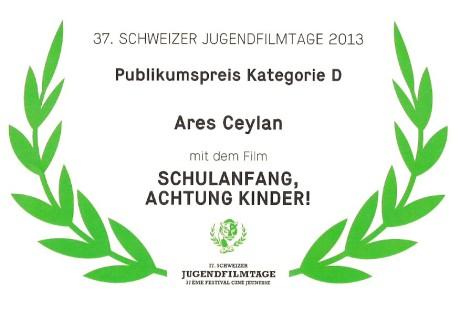 Zertifikat Schweizer Jugendfilmtage 2013 Publikumspreis Kategorie D